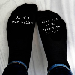 'Of all the walks' socks personalised with your special date.